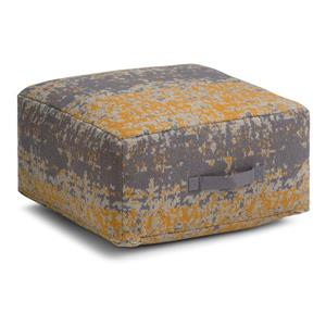 Simpli Home Tilley 20-in x 20-in 10-in Yellow Cotton Square Pouf