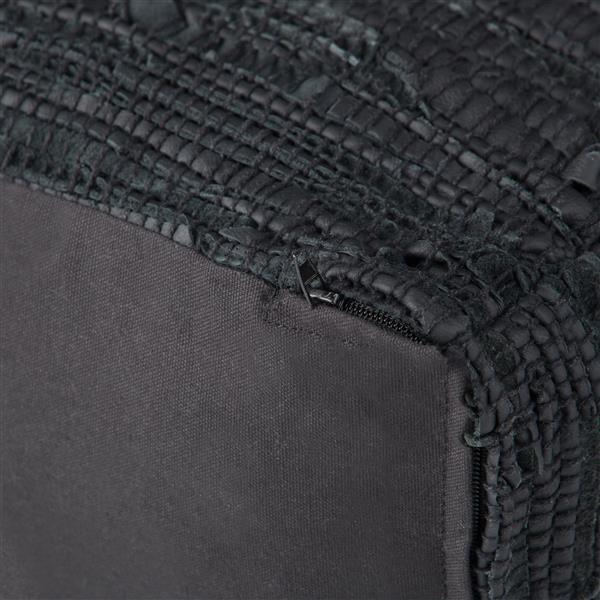 """Pouf carré Fredrik, 18"""" x 18"""" x 14"""", similicuir, noir"""
