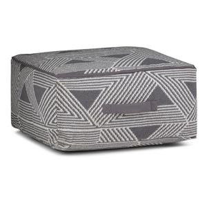 Simpli Home Headley 20-in x 20-in x 10-in Grey Cotton Square Pouf