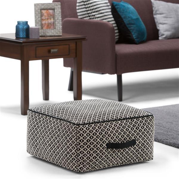 Simpli Home Olsen 20-in x 20-in x 10-in Black Cotton Patterned Square Pouf