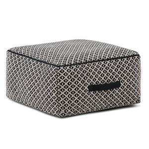 Simpli Home Olsen 20-in x 20-in x 10-in Black Cotton Patterned Square Pouf