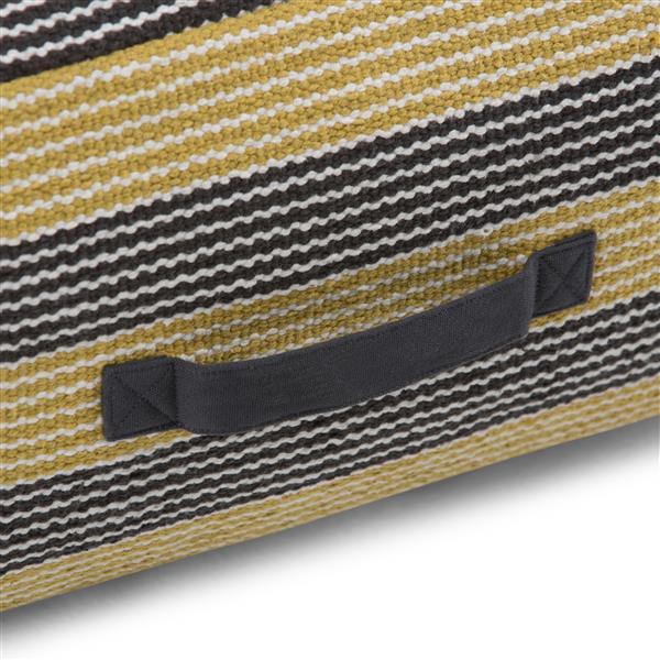 """Pouf carré Keller, 20"""" x 20"""" x 10"""", coton, jaune"""