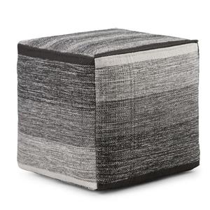 Simpli Home Naya Cotton Grey 16-in x 16-in x 16-in Cube Pouf