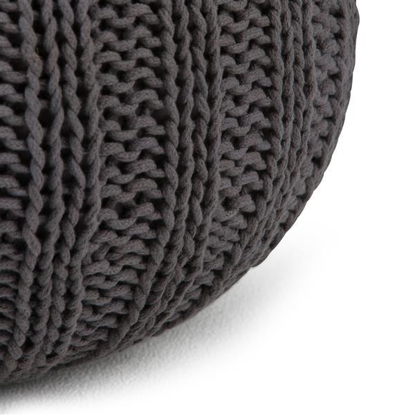 """Pouf rond Shelby, 20"""" x 20"""" x 14"""", coton, gris ardoise"""