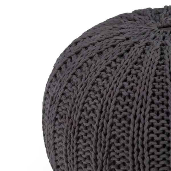 Simpli Home Shelby 20-in x 20-in x 14-in Slate Grey Cotton Round Pouf