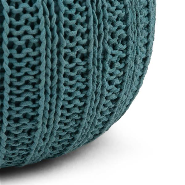 Simpli Home Shelby 20-in x 20-in x 14-in Teal Blue Cotton Round Pouf