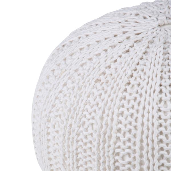 Simpli Home Shelby 20-in x 20-in x 14-in Cream Off-White Cotton Round Pouf