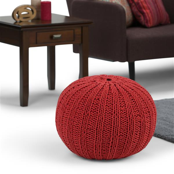 """Pouf rond Shelby, 20"""" x 20"""" x 14"""", coton, rouge"""