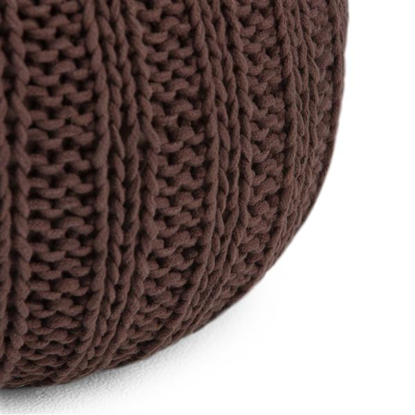 Simpli Home Shelby 20-in x 20-in x 14-in  Chocolate Brown Cotton Round Pouf