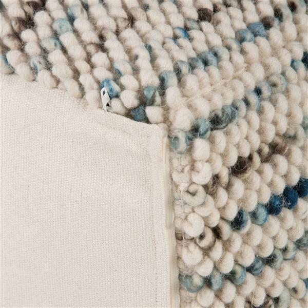 Simpli Home Zoey 18-in x 18-in x18-in Grey Wool Cube Pouf