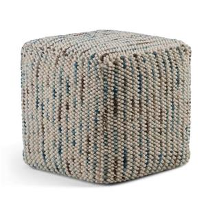 Simpli Home Zoey 18-in x 18-in x18-in Grey Wool Cube Pouf