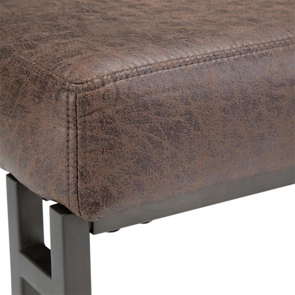 Simpli Home Trey 48-in x 18.1-in x 18.1-in Brown Faux Leather Ottoman Bench