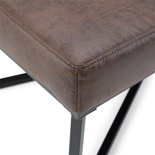 Simpli Home Logan 53.9-in x 20.1-in x 18.1-in Brown Faux Leather Ottoman Bench