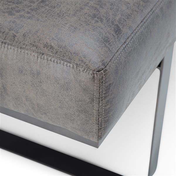 Simpli Home Bowie 59.8-in x 20.1-in x 18.1-in Grey Faux Leather Large Ottoman Bench