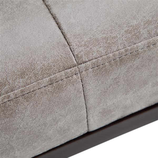 Simpli Home O'Brian Grey Faux Leather Distressed Bench Ottoman