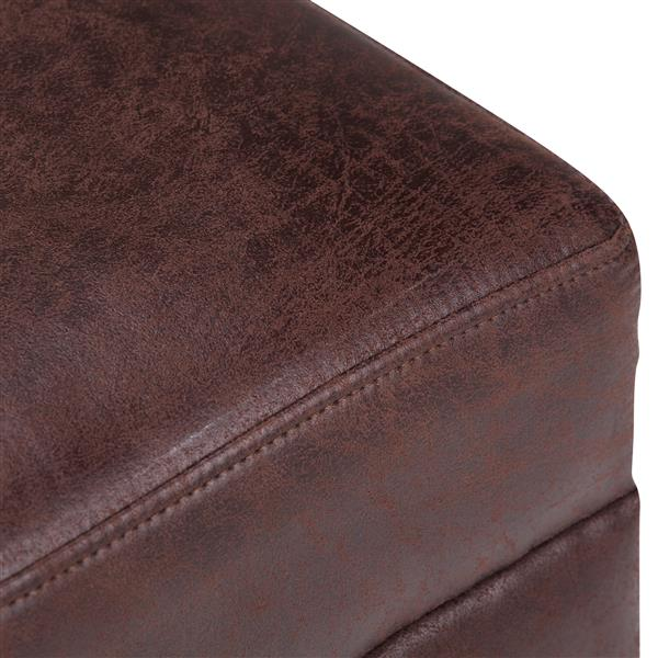 Simpli Home Oscar Brown Faux Leather Extra Wide Ottoman Bench