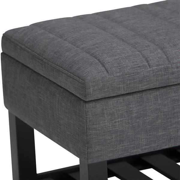 Simpli Home Memphis 43.3-in x 16.9-in x 18.5-in Grey Storage Ottoman Bench