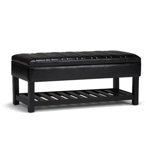 Simpli Home Memphis 43.3-in x 16.9-in x 18.5-in Black Storage Ottoman Bench