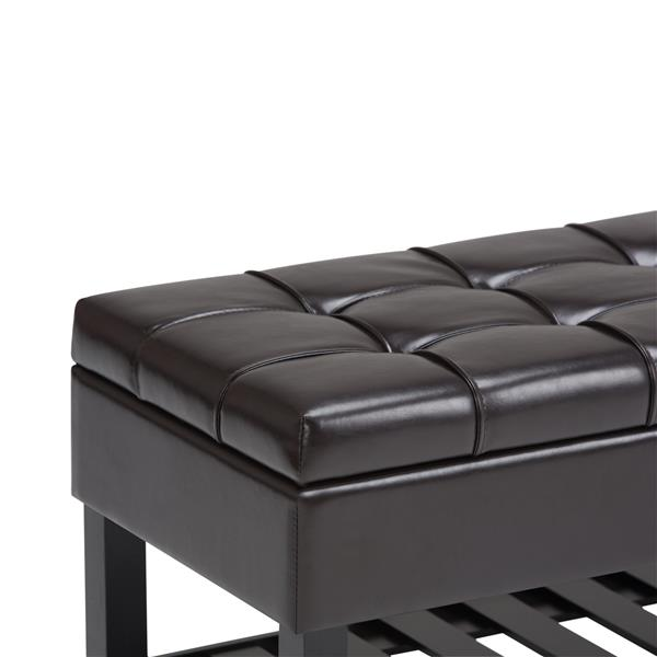 Simpli Home Saxon  Bench 43.5-in x 17-in x 18.5-in Tanners Brown Storage Ottoman