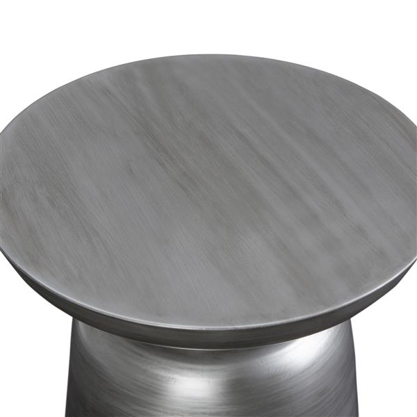 Simpli Home Toby 16.5-in x 16.5-in x 18.1-in Round Silver Accent Table