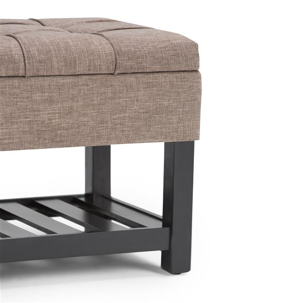 Simpli Home Saxon 43.5-in x 17-in x 18.5-in Fawn Brown Storage Ottoman Bench