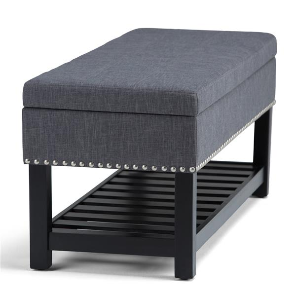 Simpli Home Radley 43.5-in x 17-in x 18.5-in Slate Grey Storage Ottoman Bench