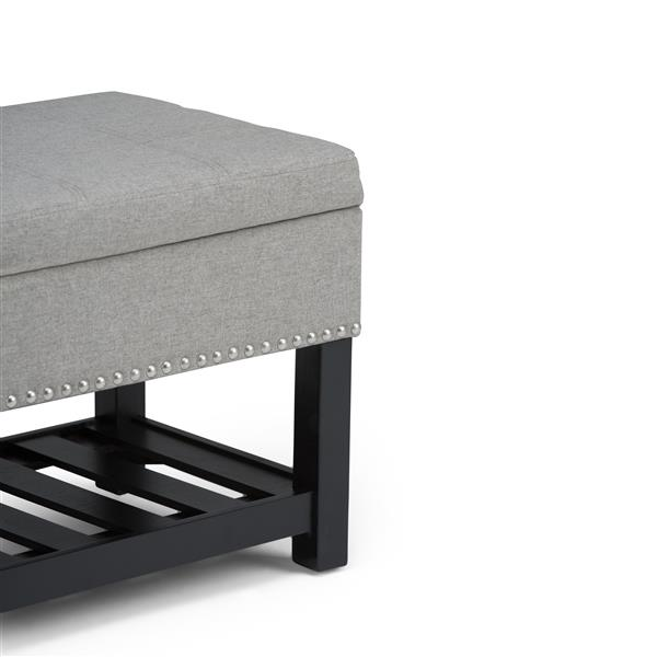 Radley 43.5-in x 17-in x 18.5-in Dove Grey Storage Ottoman Bench