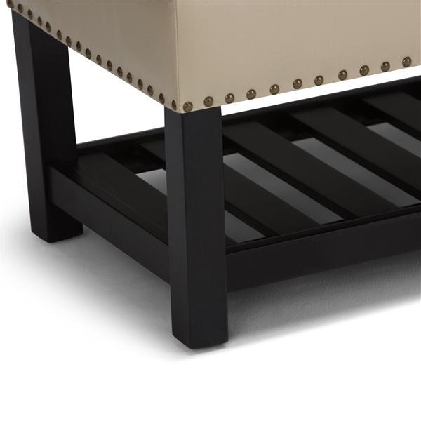 Simpli Home Lomond 43.3-in x 16.9-in x 18.5-in Off-White Storage Ottoman Bench