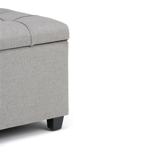 Simpli Home Sienna Storage Dove Grey 33.5-in x 18-in x 16.5-in Ottoman Bench