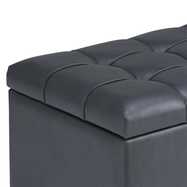 Simpli Home Sienna 33.5-in x 18-in x 16.5-in Stone Grey Storage Ottoman Bench