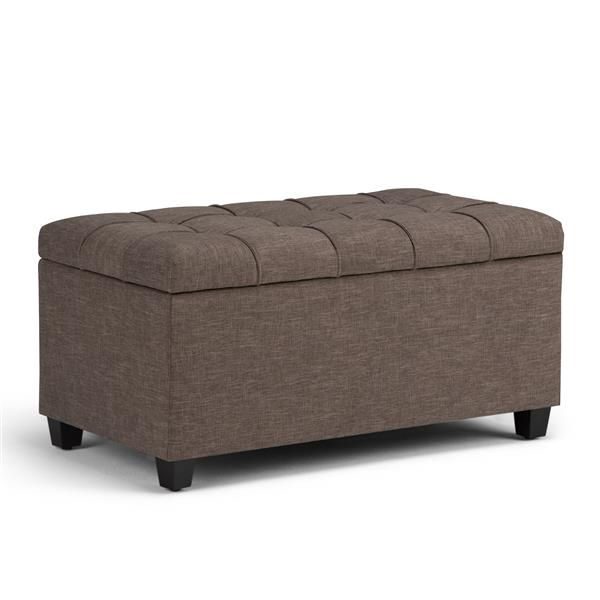 Simpli Home Sienna 33.5-in x 18-in  Linen Brown Storage Ottoman Bench