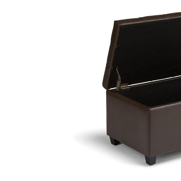 Simpli Home Sienna 33.5-in x 18-in x 16.5-in Brown Storage Ottoman Bench