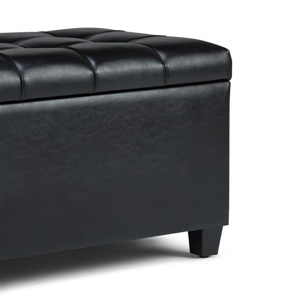 "Banc-ottoman de rangement Sienna, 33,5"" x 18"" x 16,5"", noir"