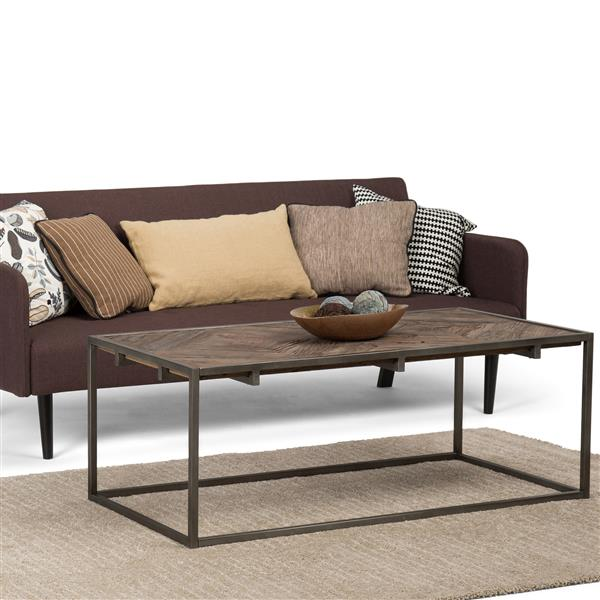 Simpli Home Avery 48-in x 24-in x 18.1-in Brown Wood Top Industrial Design Coffee Table