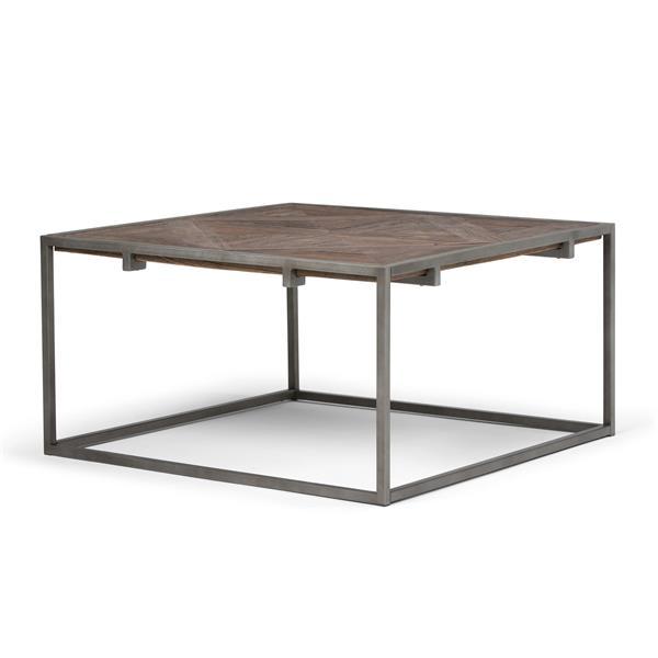 """Table à café carrée Avery, 34,1"""" x 34,1"""" x 18,1"""", bois, brun"""