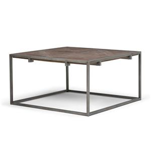 Simpli Home Avery 34.1-in x 34.1-in x 18.1-in Brown Wood Top Industrial Design Square Coffee Table