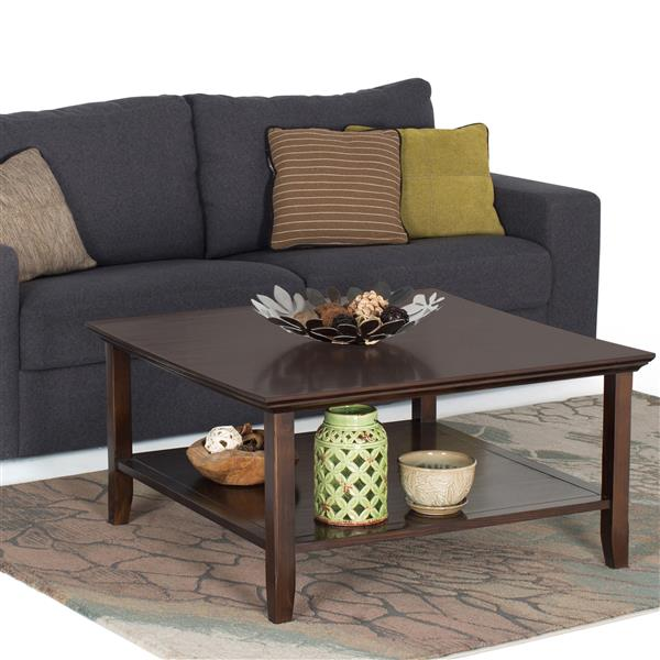 Simpli Home Acadian 36-in x 36-in x 18.5-in Brown Wood Square Coffee Table