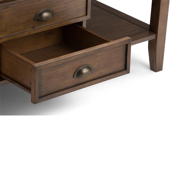 Simpli Home Redmond  48-in x 30-in x 18.5-in Brown Wood Stain Finish Double Drawer Rectangular Coffee Table