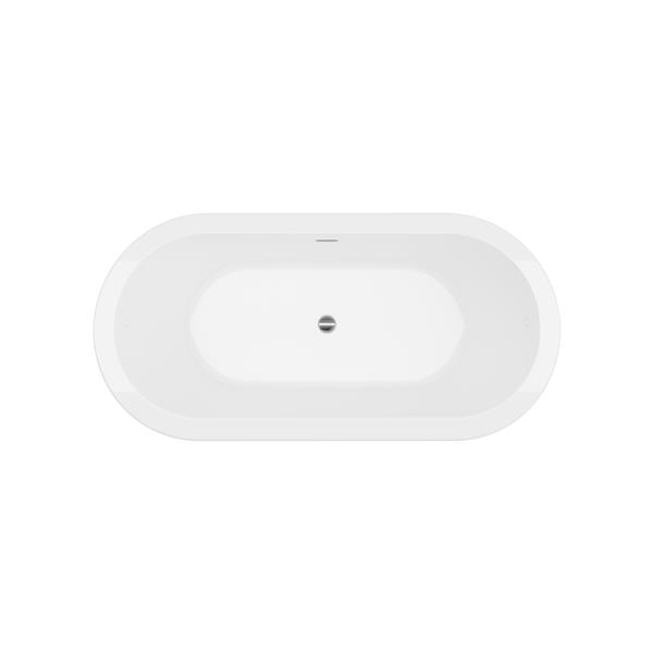A&E Bath & Shower Una Freestanding Bathtub - 71-in - Glossy White