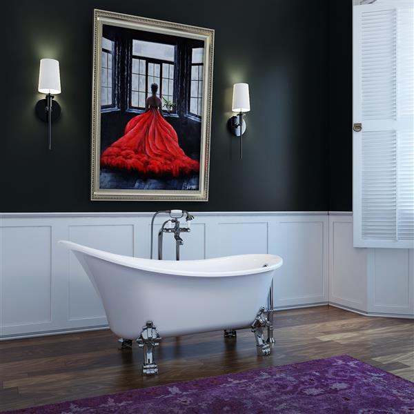 A&E Bath & Shower Dora Freestanding Clawfoot Bathtub - 59-in - Glossy White