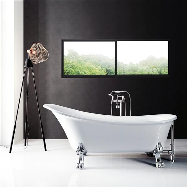 A&E Bath & Shower Dora Freestanding Clawfoot Bathtub - 69-in - Glossy White