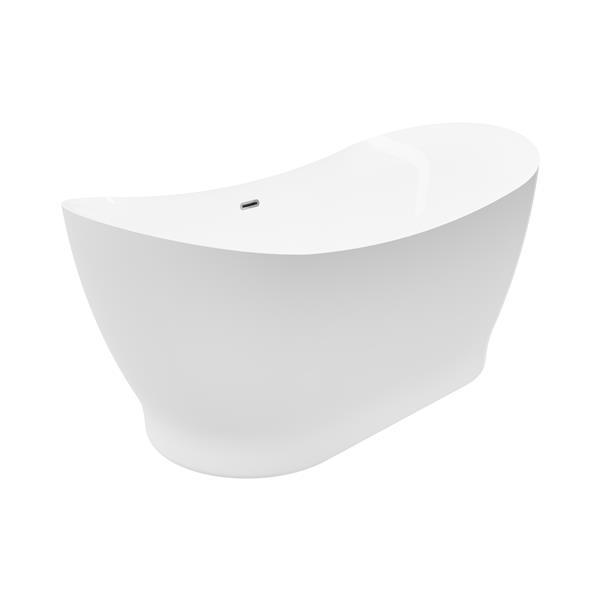 Baignoire autoportante Tundra A&E Bath & Shower, 66 po, blanc lustré