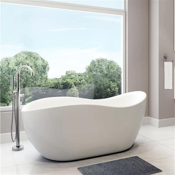 A&E Bath & Shower Abzu Freestanding Bathtub - 68-in - Glossy White