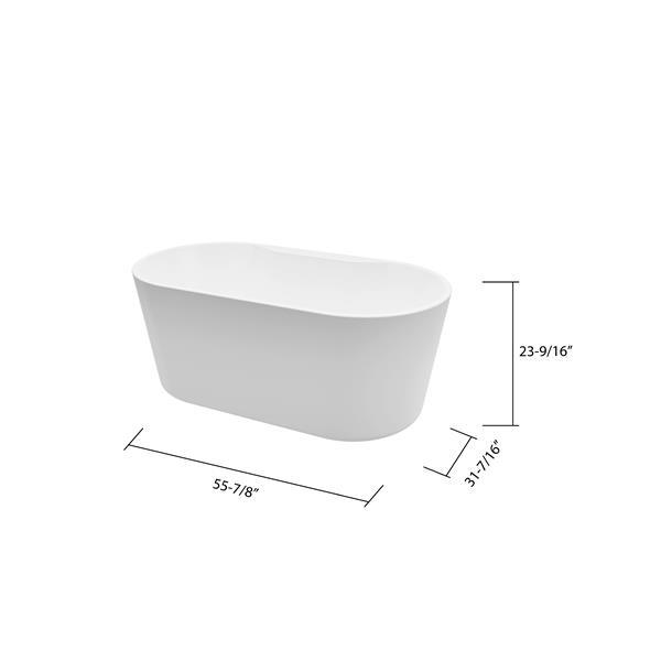 A&E Bath & Shower Retro Freestanding Clawfoot Bathtub - 59-in - Glossy White