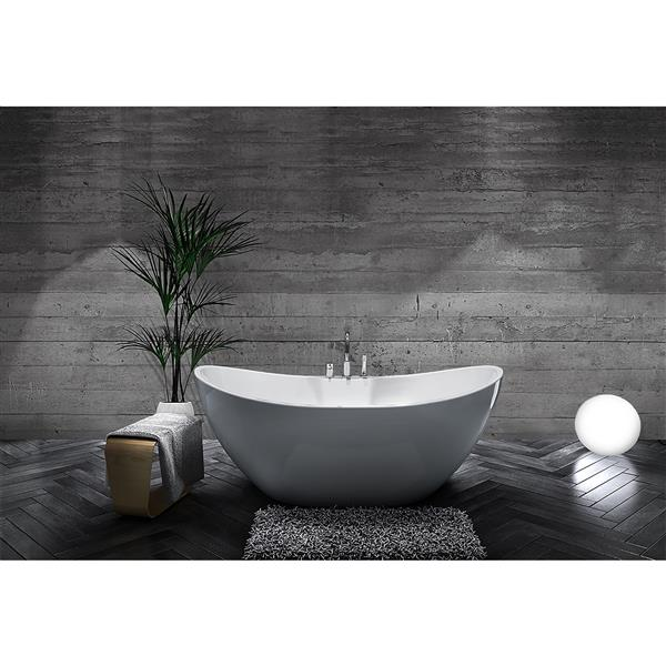 A&E Bath & Shower Turin Freestanding Bathtub - 69-in - Glossy White