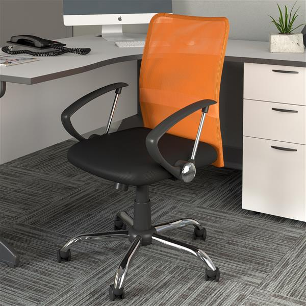 CorLiving 20.00-In x 19.00-In Contoured Orange Mesh Back Office Chair