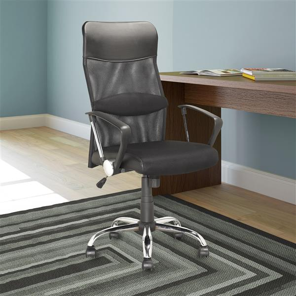 CoreLiving 21.50-in x 19.50-in Black Leatherette And Mesh Executive Office Chair