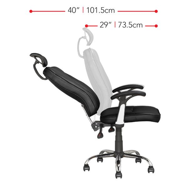 CorLiving 22.00-In x 19.00-In Black Leatherette Reclining Executive Office Chair