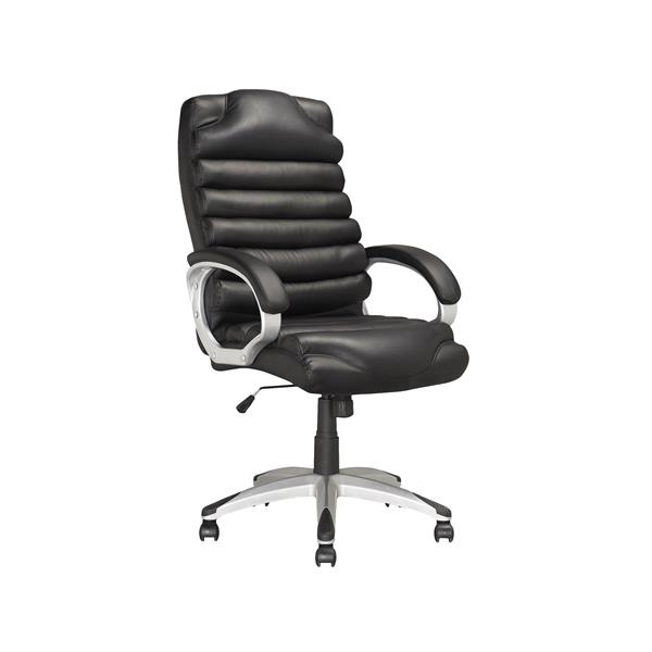 CoreLiving 24.00-in x 21.00-in Black Leatherette Executive Office Chair