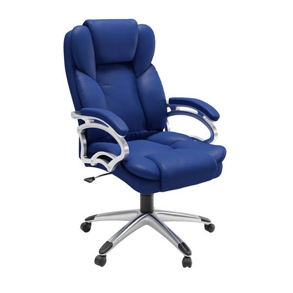 CoreLiving 22.50-in x 21.00-in Cobalt Blue Leatherette Executive Office Chair